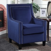 Ivy Bronx Trenton Velvet Arm Chair; Blue