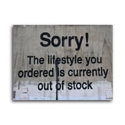 Ivy Bronx 'Lifestyle Out of Stock' Textual Art on Brushed Aluminum; 11'' H x 14'' W x 1'' D