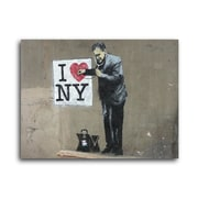 Ivy Bronx 'I Love NY' Graphic Art Print on Brushed Aluminum; 11'' H x 14'' W x 1'' D