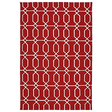 Winston Porter Stepanie Red/White Indoor/Outdoor Area Rug; 9' x 12'