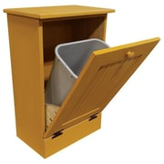 Rebrilliant Manual Wooden 10.25 Gallon Pull Out Trash Can in Large; Gold