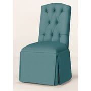 Red Barrel Studio Pearce Diamond Tufted Skirted Parsons Chair; Turquoise