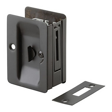 Richelieu Rectangular Pocket Door Pull w/ Privacy Lock; Oil Rubbed Bronze