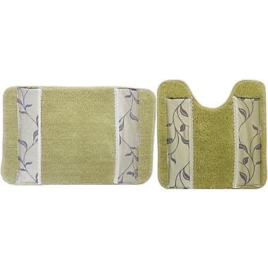 August Grove Levesque 2 Piece Bath Rug Mat; Green