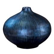 Brayden Studio Blue Lacquered Wood Tall Vase