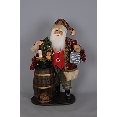 Karen Didion Signature Lighted Wine Barrel Santa Figurine