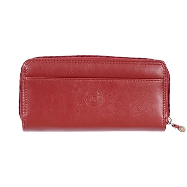 Club Rochelier Traditional Collection, Red Zip Around Clutch Wallet with Tab (4471-62-RED)
