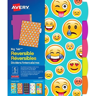 Avery Big Tab™ Emoji Print Reversible Dividers, 5 Tab, 1 Set (24974)