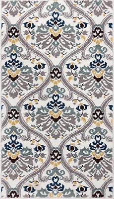 Charlton Home Harper Geometric Darling Floral White Area Rug; 3'3'' x 4'7''