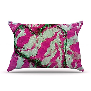 East Urban Home Anne LaBrie 'Pink Tiger Love' Pillow Case; Pink/Green
