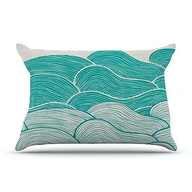 East Urban Home Pom Graphic Design 'The Calm And Stormy Seas' Pillow Case; Green/Teal