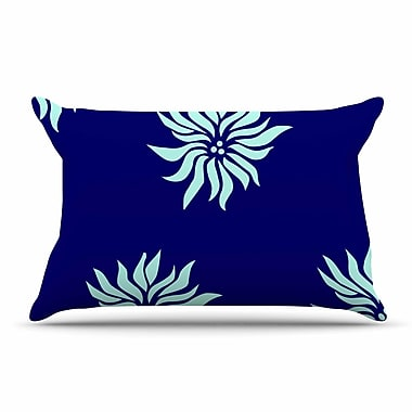 East Urban Home NL Designs 'Snow Flowers' Pillow Case; Blue/Aqua