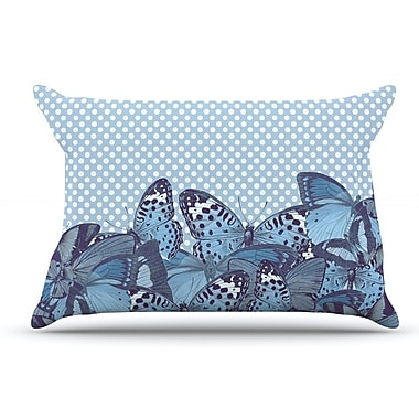 East Urban Home Suzanne Carter 'Butterfly Polka' Pillow Case; Aqua