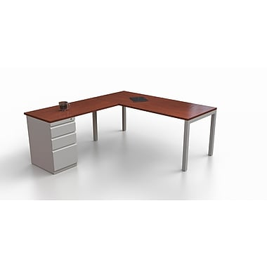 Trendway Trig L-Shape Writing Desk; Mahogany