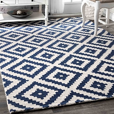 Longshore Tides Hillsdale Hand-Tufted Navy Area Rug; 8' 6'' x 11' 6''