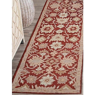 Charlton Home Bay City Vintage Hand-Tufted Wool Red/Beige Area Rug; Runner 2'6'' x 8'