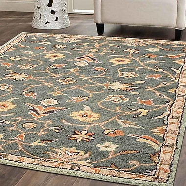 Charlton Home Beaconcrest Vintage Hand-Tufted Wool Green Area Rug; Square 5'