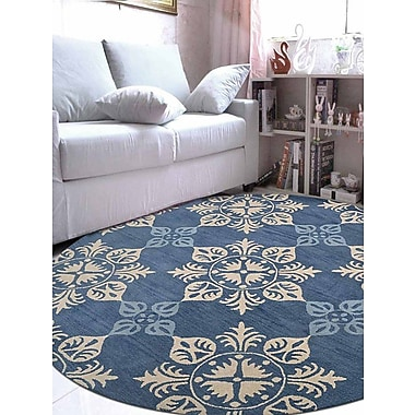 Charlton Home Beauchamp Square Floral Hand-Tufted Wool Blue Area Rug; Round 8'