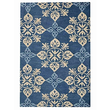 Charlton Home Beauchamp Square Floral Hand-Tufted Wool Blue Area Rug; 8' x 11'