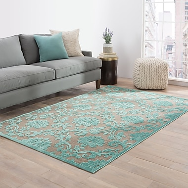 Charlton Home Bell Brown/Blue Area Rug; 9' x 12'