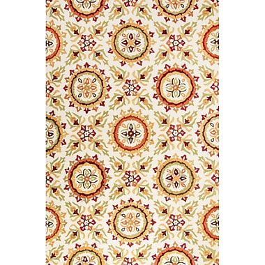 Charlton Home Bellbrook Hand-Tufted Contemporary Ivory/Orange Area Rug; 5' x 7'6''