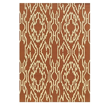Winston Porter Savanah Hand-Tufted Brown/Ivory Outdoor Area Rug; 5' x 7'