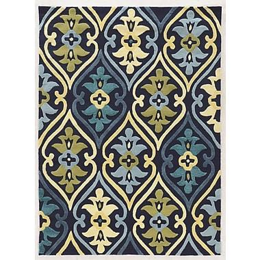 Winston Porter Savanah Damask Hand-Tufted Blue/Green Outdoor Area Rug; 1'10'' x 2'10''