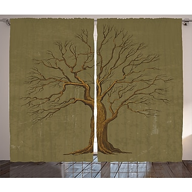 Bloomsbury Market Justa Graphic Print and Text Semi-Sheer Rod Pocket Curtain Panels (Set of 2)
