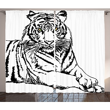 Joellen Tiger Graphic Print and Text Semi-Sheer Rod Pocket Sateen Curtain Panels (Set of 2)