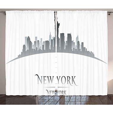 Bodenhamer American Graphic Print and Text Semi-Sheer Rod Pocket Curtain Panels (Set of 2)