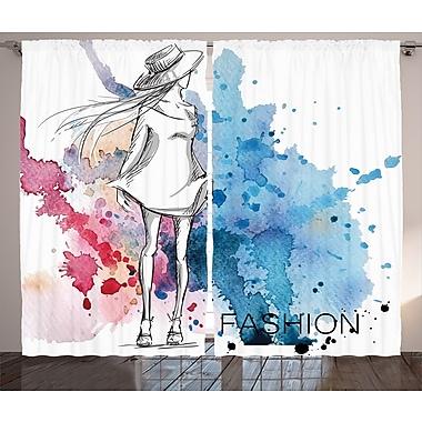 Latitude Run Brannen Girly Graphic Print and Text Semi-Sheer Rod Pocket Curtain Panels (Set of 2)