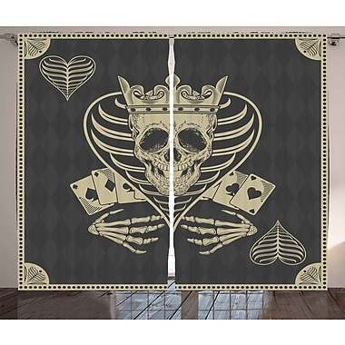 Ambesonne Skull Graphic Print and Text Semi-Sheer Rod pocket Curtain Panel (Set of 2)