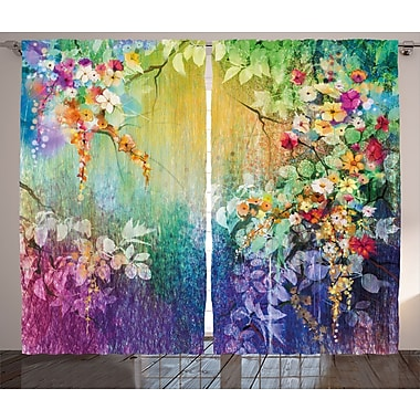 Vanhorne Watercolor Flower Graphic Print and Text Semi-Sheer Rod Pocket Curtain Panels (Set of 2)