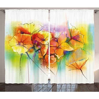 Vandyne Watercolor Flower Graphic Print and Text Semi-Sheer Rod Pocket Curtain Panels (Set of 2)