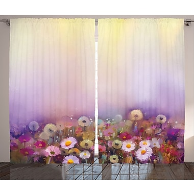 Unger Watercolor Flower Graphic Print and Text Semi-Sheer Rod Pocket Curtain Panels (Set of 2)