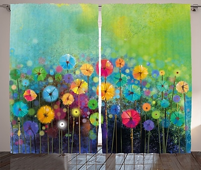 Trinningham Watercolor Flower Graphic Print and Text Semi-Sheer Rod Pocket Curtain Panels (Set of 2) WYF078281148072