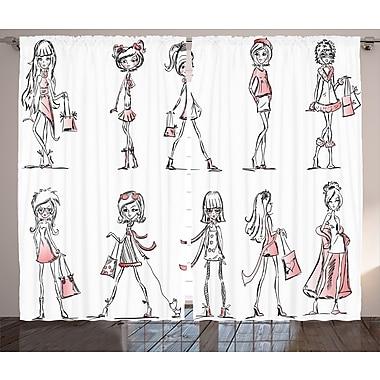 Latitude Run Yajaira Girly Graphic Print and Text Semi-Sheer Rod Pocket Curtain Panels (Set of 2)