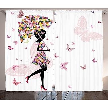 Latitude Run Tereasa Girly Graphic Print and Text Semi-Sheer Rod Pocket Curtain Panels (Set of 2)