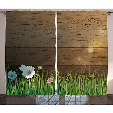Chalfont Watercolor Flower Graphic Print and Text Semi-Sheer Rod Pocket Curtain Panels (Set of 2)