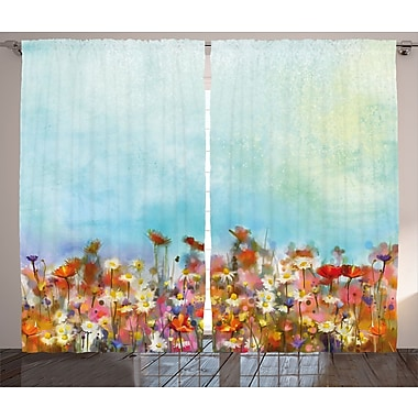 Colesville Watercolor Flower Graphic Print and Text Semi-Sheer Rod Pocket Curtain Panels (Set of 2)