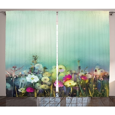 Jennerstown Watercolor Flower Graphic Print and Text Semi-Sheer Rod Pocket Curtain Panels (Set of 2)