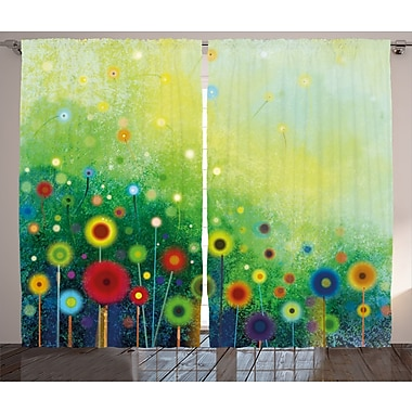 Vandegrift Watercolor Flower Graphic Print and Text Semi-Sheer Rod Pocket Curtain Panels (Set of 2)