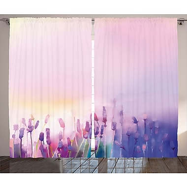 Catskill Watercolor Flower Graphic Print and Text Semi-Sheer Rod Pocket Curtain Panels (Set of 2)