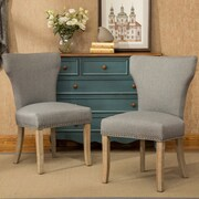 One Allium Way Lisa Trim Fabric Dining Side Chair; Gray