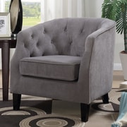Latitude Run Aguilera Tufted Arm Chair; Gray