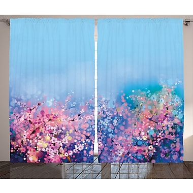 Millvale Watercolor Flower Graphic Print and Text Semi-Sheer Rod Pocket Curtain Panels (Set of 2)