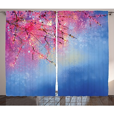 Montegue Watercolor Flower Graphic Print and Text Semi-Sheer Rod Pocket Curtain Panels (Set of 2)