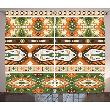 Bloomsbury Market Deanery Graphic Print and Text Semi-Sheer Rod Pocket Curtain Panels (Set of 2)