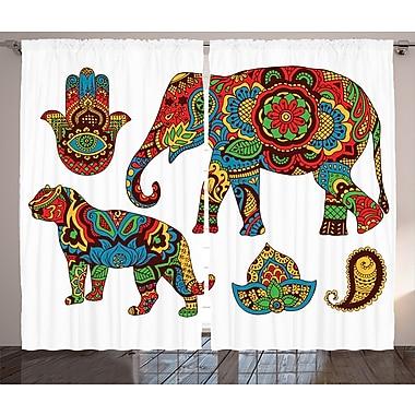 Zentique Hamsa Graphic Print and Text Semi-Sheer Rod Pocket Curtain Panels (Set of 2)