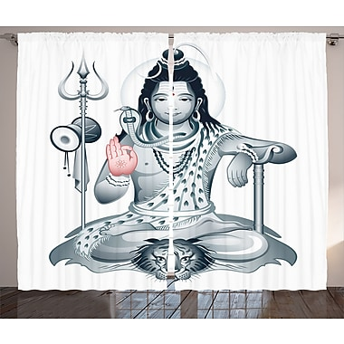 World Menagerie Tamil Yoga Graphic Print and Text Semi-Sheer Rod Pocket Curtain Panels (Set of 2)